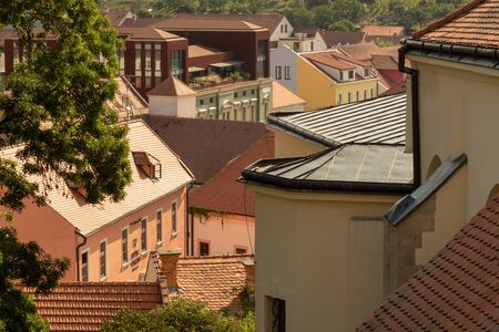 View of the old city. Bright contrasting tones. Mikulov, Czech Republic.