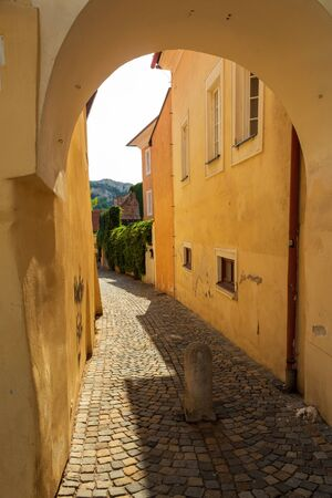 Cobbled street of the old city. Mikulov, Czech Republic.