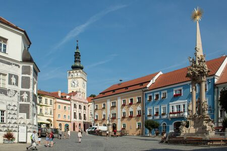 Czech Republic, Mikulov - August 30, 2019. Despite the end of summer, the tourist season is still in full swing. The central square of the old city
