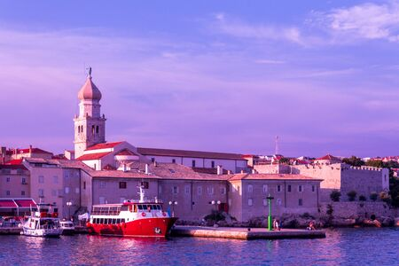 Evening view of the pier of the old city. Close up. Krk, island of Krk, Croatia. Stok Fotoğraf