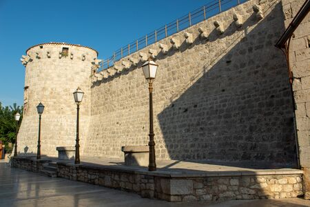 The ancient defensive wall. Krk, island of Krk, Croatia.