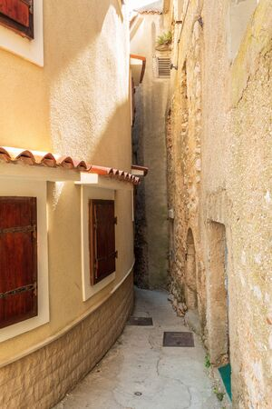 The narrowest street in the world. Entrance. Vrbnik, island of Krk, Croatia.