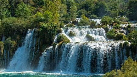 The main waterfall of Krka National Park, Croatia. The effect of frozen water.