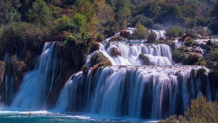 The main waterfall of Krka National Park, Croatia. The effect of silk water. Stok Fotoğraf
