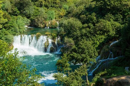 One of the waterfalls of Krka National Park, Croatia. View from above.