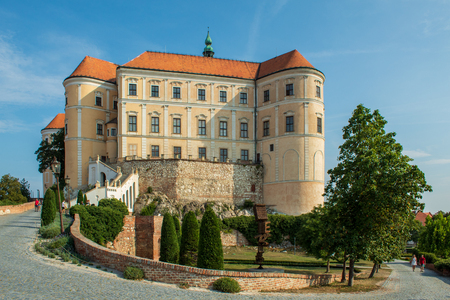 Mikulov Castle. Beautiful general view. Bright contrasting tones. Mikulov, Czech Republic.