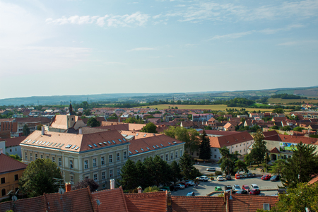 View of the city from the park of the Mikulov castle. Mikulov, Czech Republic. Editöryel