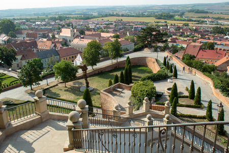 Beautiful view of the city from the Mikulov castle. Bright contrasting tones. Mikulov, Czech Republic.