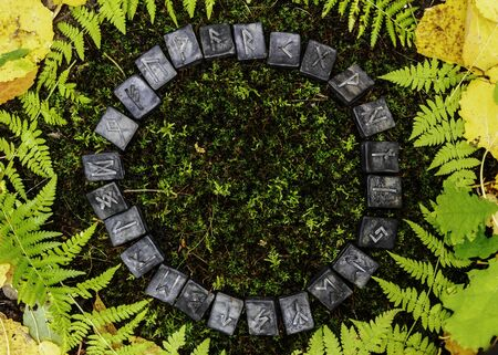 A circle of 24 Scandinavian runes on the background of moss and leaves in the autumn forest.