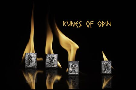 Runes of Odin. Ansuz is the voice of the gods. Gebo is a gift. Odal - a mature and wise man, family, property. Dagaz - a transformation to the good. Runes are situated on the background of flames.