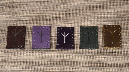 Hand made Norse rune Algiz on 5 different pieces of leather. Algiz is voice of Gods, means getting help and support.