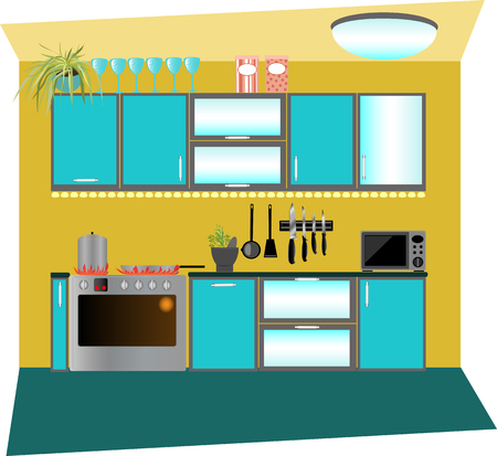 countertop: colored kitchen cabinets
