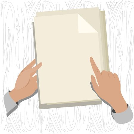mag: hands on the Desk holding a sheet of paper