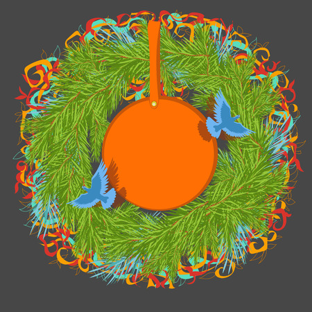 a wreath of spruce Illustration