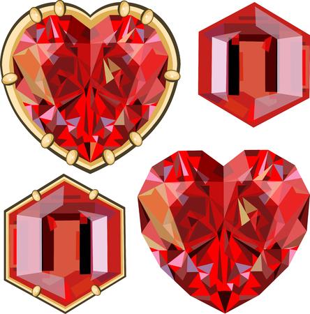 asscher: rubies. set