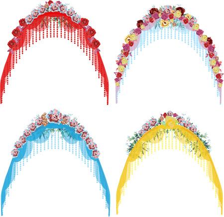 wedding reception decoration: set of wedding arches Illustration