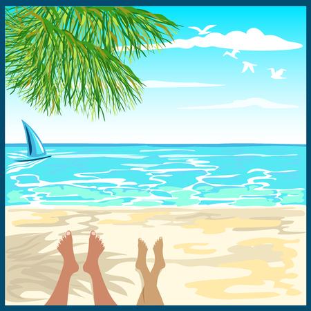 tourists on the beach Illustration
