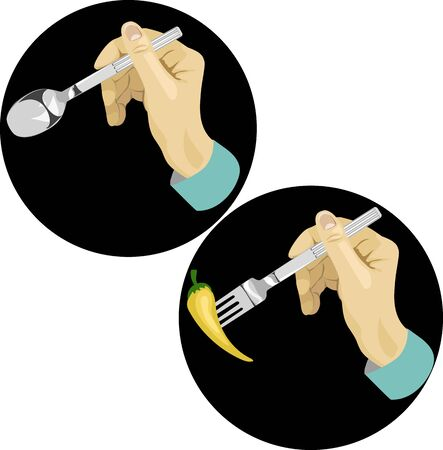 hands holding Cutlery