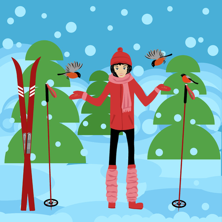 winter forest. skier Illustration