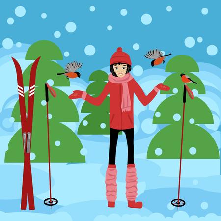 winter forest. skier Ilustrace