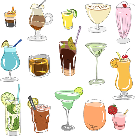 set of cocktails sketch