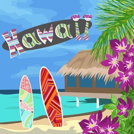 Hawaii, beach, flowers, surfboards illustration.