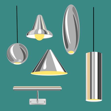 old pc: set of metal lamp.