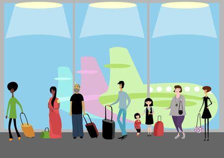 Personas en el aeropuerto ilustración. Foto de archivo - 75426515