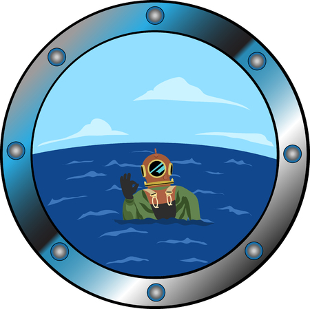 Window. Diver. Vector illustration