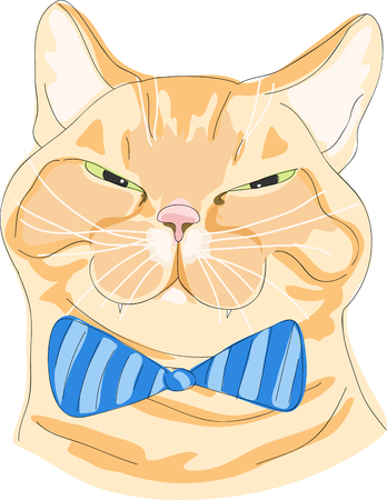 cat with bow Illustration