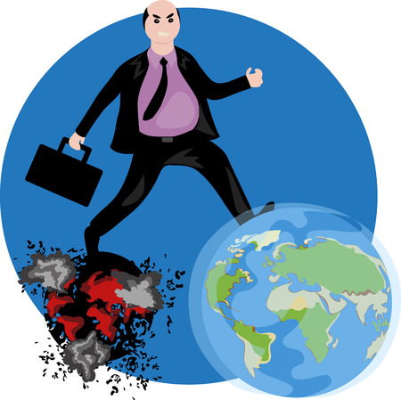 man destroys the planet Illustration