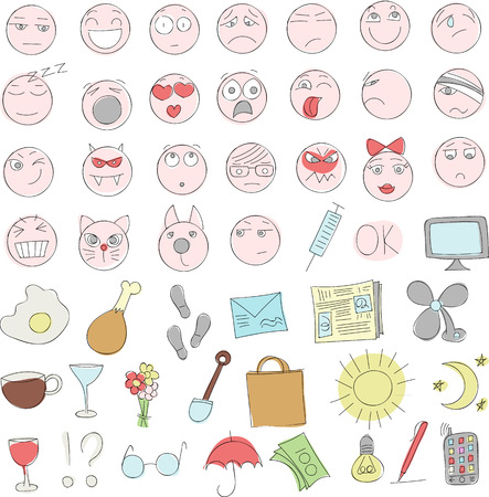 Smileys and icons Doodle Illustration