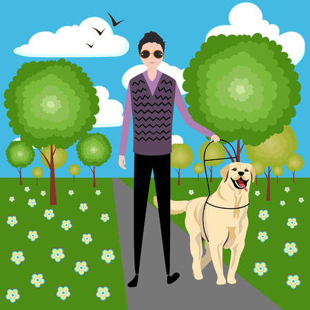 the dog guide and the blind man on a walk
