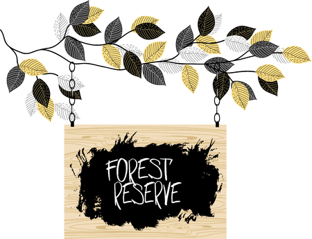 A branch with leaves. wooden sign