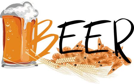 fried shrimp: Beer with shrimps Illustration