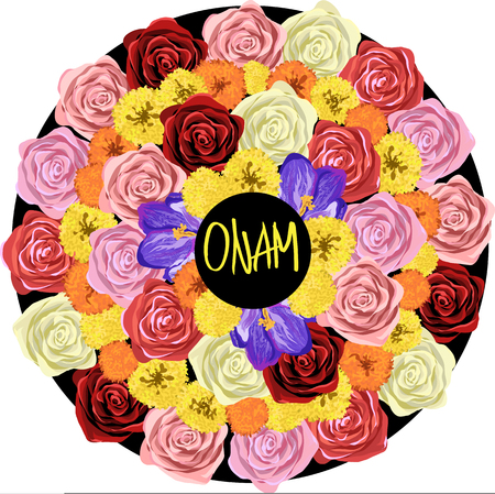 onam: floral illustration Indian festival Onam Illustration