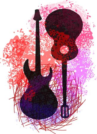 guitar on an abstract background Illustration