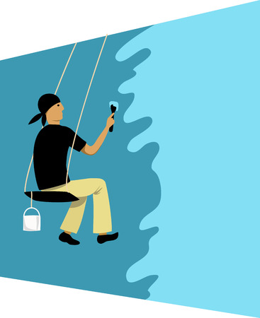 dangerous man: industrial worker washing the wall vector illustration.