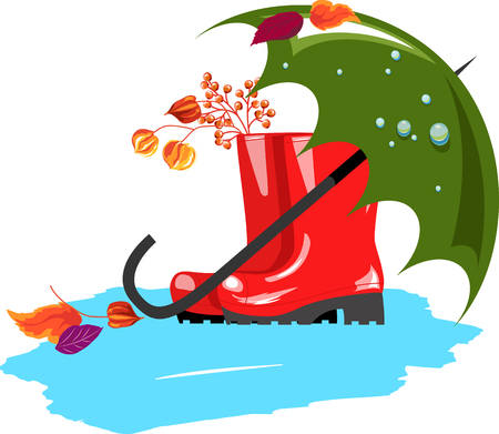 Rubber boots.umbrella and autumn leaves Illustration