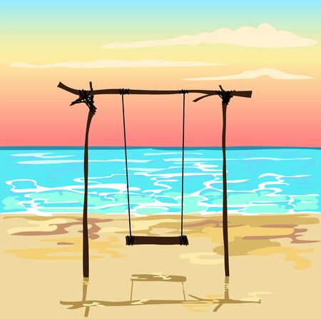 Swing on the beach at sunset.