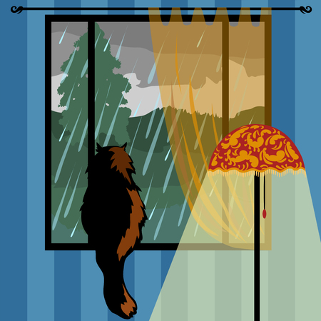 the cat looks out the window Illustration