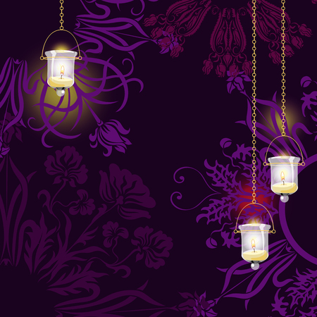 hopeful: candles on dark background Illustration