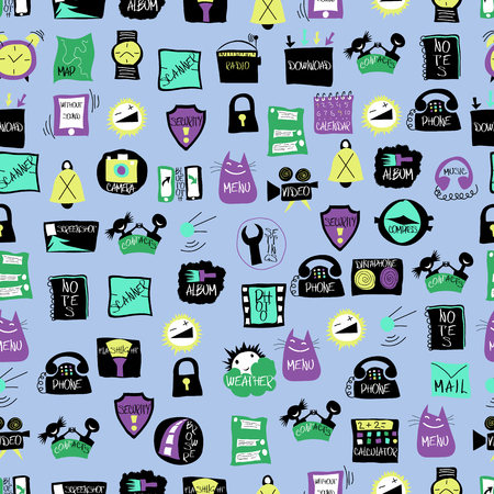 cdma: application icons for mobile phone.seamless pattern