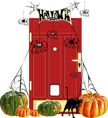 Halloween. pumpkins at the door Illustration
