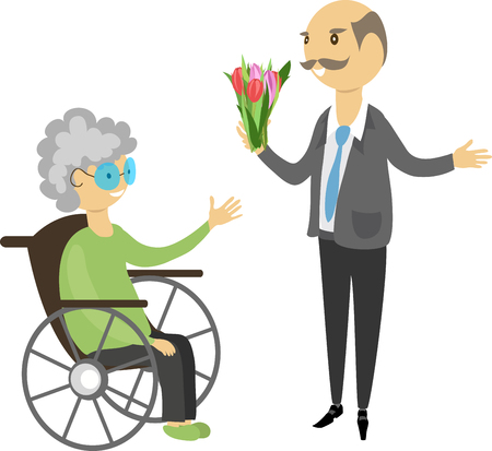 grandpa gives flowers to grandmother