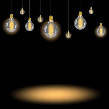 light bulb on black background Illustration