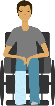Illustration of a man with broken leg in a wheelchair.