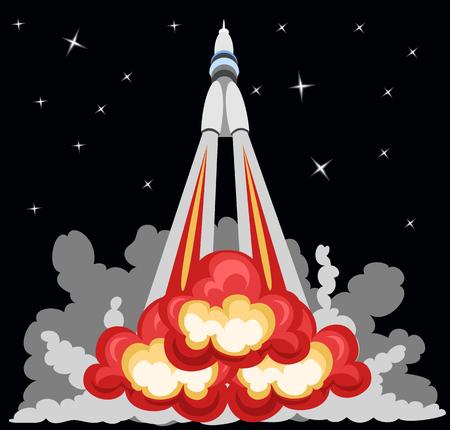 space station: rocket takeoff Illustration