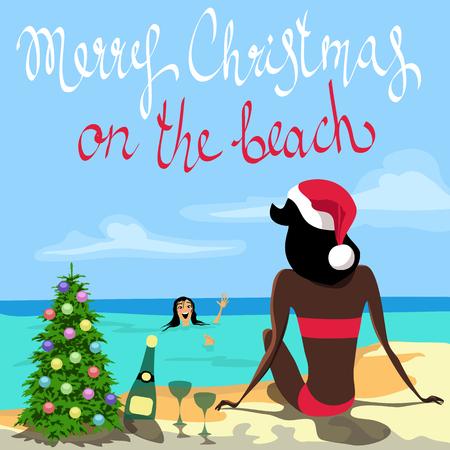Christmas on the beach. Illustration
