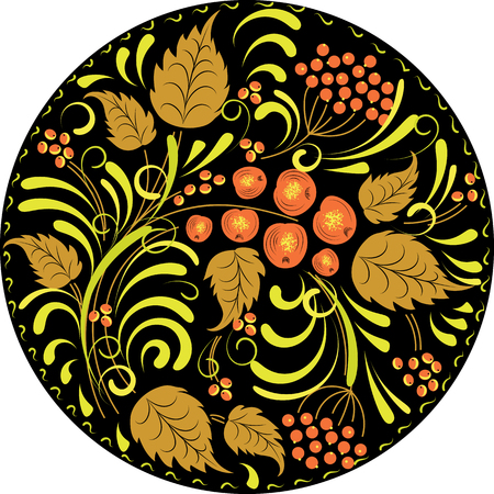 Russian Khokhloma pattern in the circle. Illustration